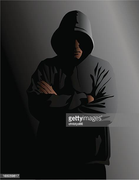 hooded man in the shadows - hood clothing stock illustrations