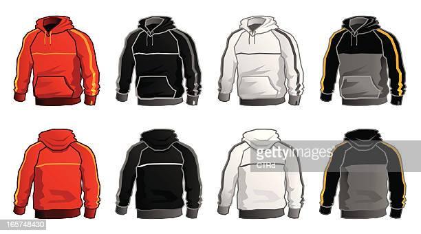 hooded sweatshirt - black jacket stock illustrations