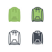 Hoodie clothes icon vector flat colored line silhouette