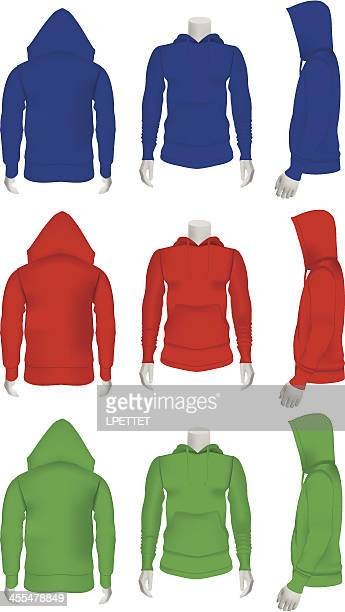 hoodie - vector illustration - mannequin stock illustrations, clip art, cartoons, & icons
