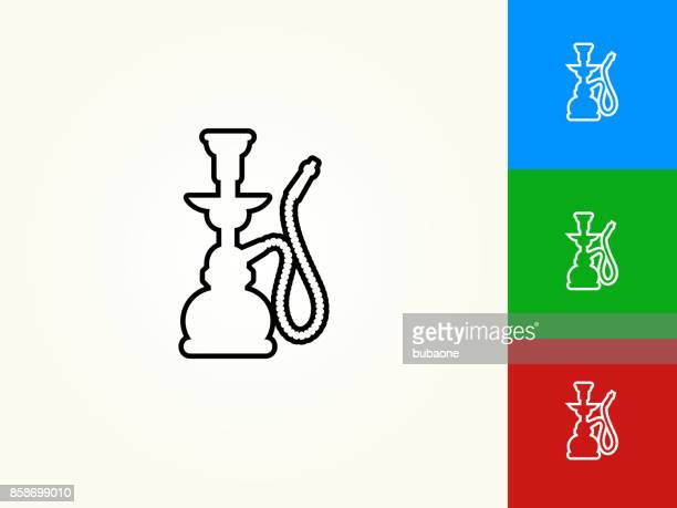 hookah black stroke linear icon - hookah stock illustrations, clip art, cartoons, & icons