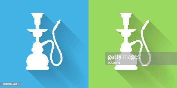 hookah icon with long shadow - hookah stock illustrations, clip art, cartoons, & icons