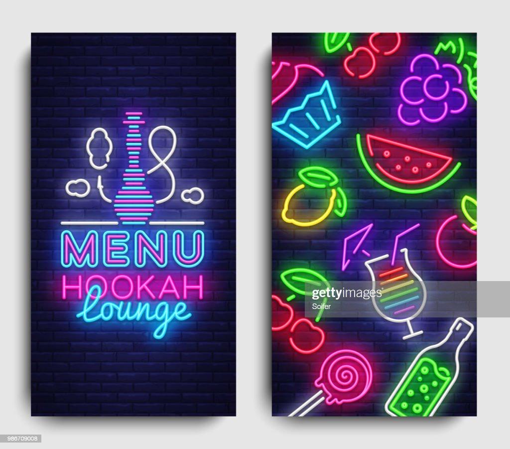 Hookah lounge menu design template vector. Hookah lounge typography modern trend design, vertical banners, nightlife neon advertising hookah. Vector Illustration