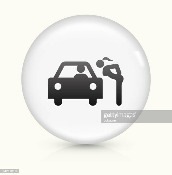 hooker icon on white round vector button - prostitution stock illustrations, clip art, cartoons, & icons