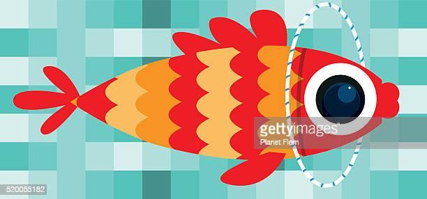 hoolahoop fish - plastic hoop stock illustrations