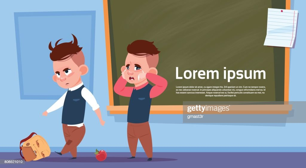 Hooligan Pupils In Class Room, Two Bad School Boys Over Chalk Board