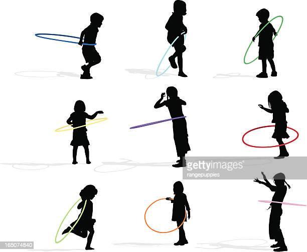 hoop kids - plastic hoop stock illustrations