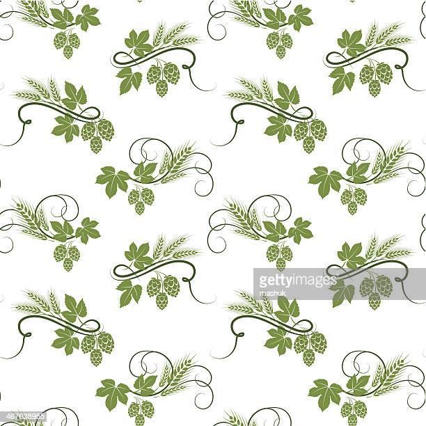 hop and barley seamless pattern - barley stock illustrations, clip art, cartoons, & icons