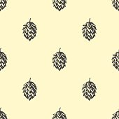Hop beer seamless pattern background