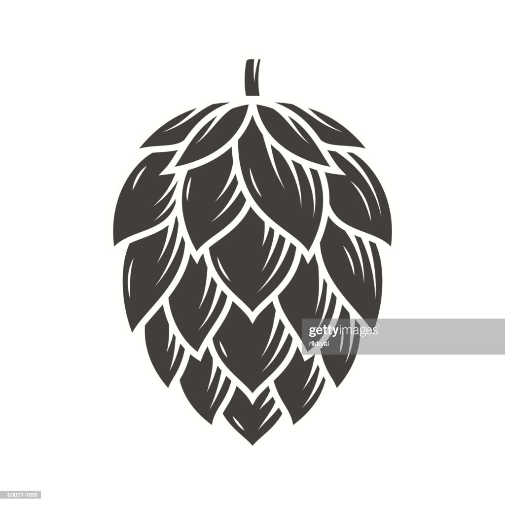 Hop emblem icon label. Vector illustration.