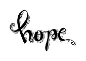 Hope hand lettering calligraphy