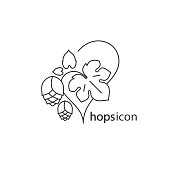 Hops and leaf. A simple icon. Vector outline drawing for a brewery, beer, cosmetics.