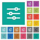 Horizontal adjustment square flat multi colored icons