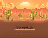 Horizontal banner. Desert with cactuses.
