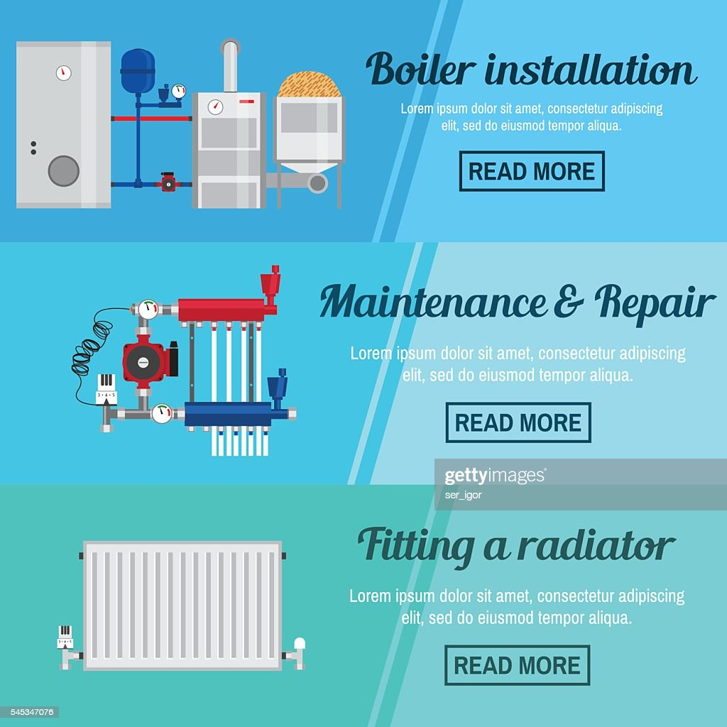 Horizontal banner set with boiler Installation.