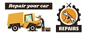 Horizontal banner template on car repairs. Repair icon, hand holding a wrench. Technician reconditioning orange truck. Vector illustration. Flat style