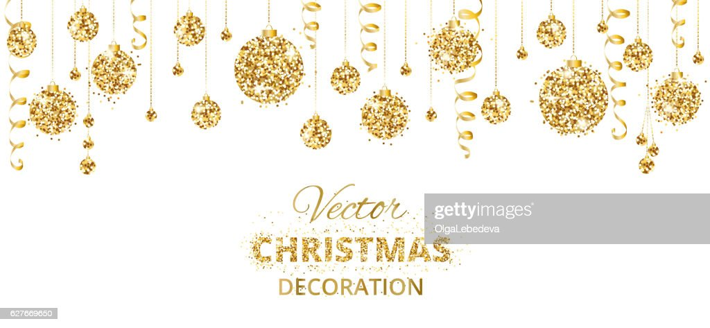 Horizontal banner with hanging christmas balls and ribbons isolated on
