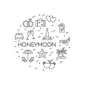 Horizontal banner with honeymoon symbols Line art