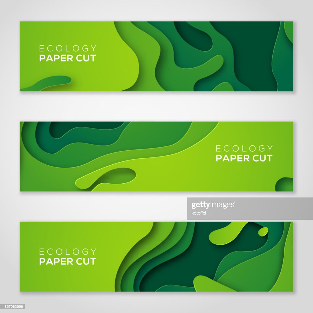 Horizontal banners set, green paper cut shapes.