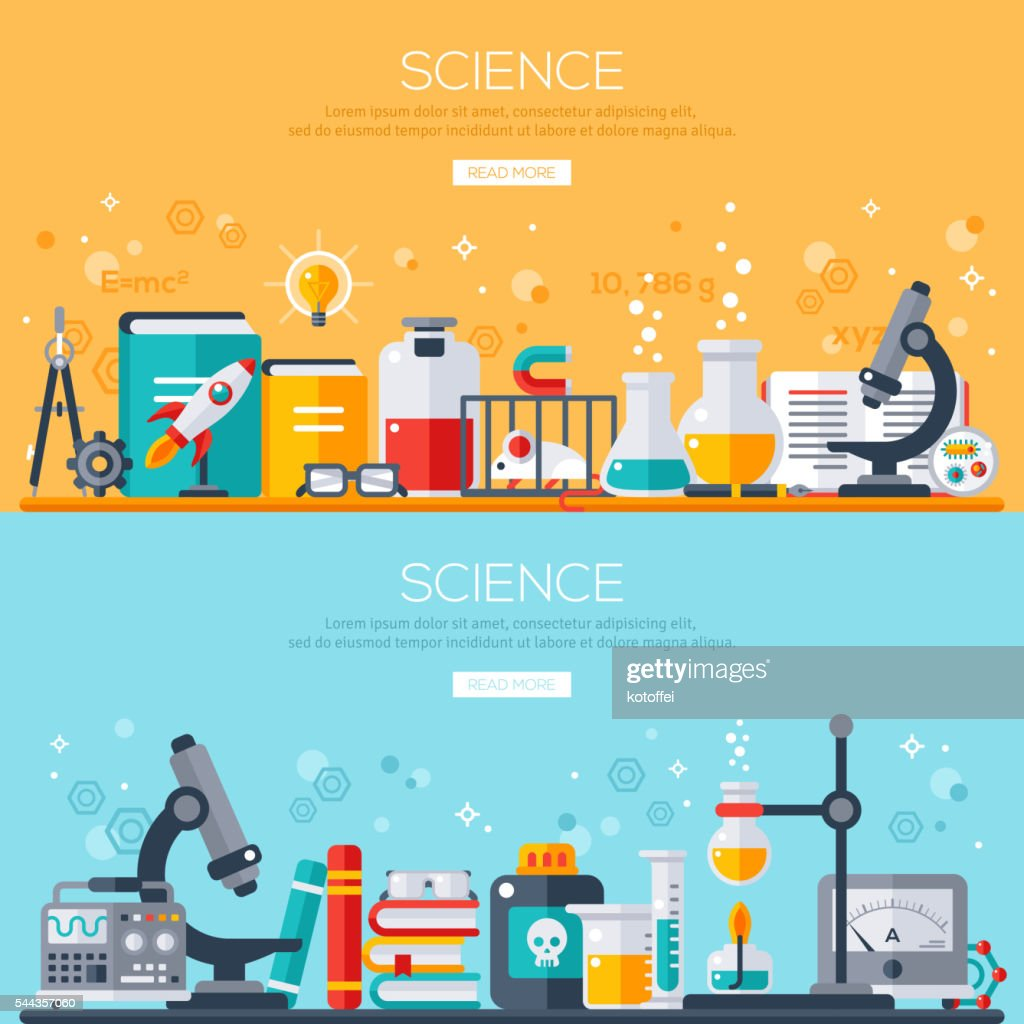 Horizontal banners set with scientist workplaces