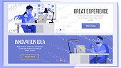 Horizontal Banners Website Design Vector. Business Background. Web Design And Development. Cartoon Team. Cash Contract. Illustration