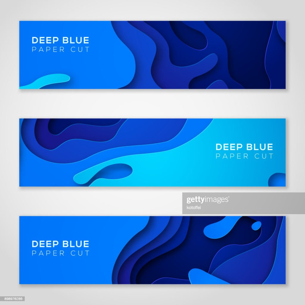 Horizontal banners with abstract blue background