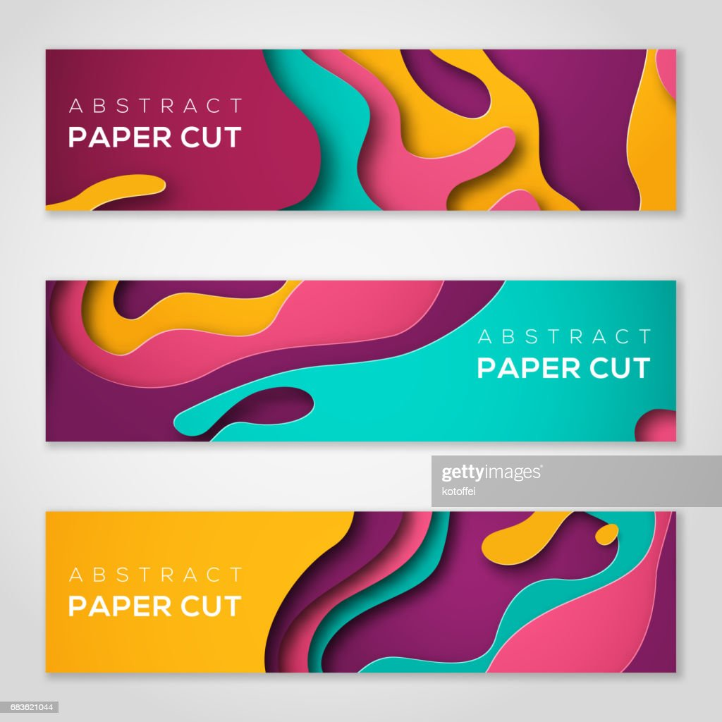 Horizontal banners with abstract paper cut shapes