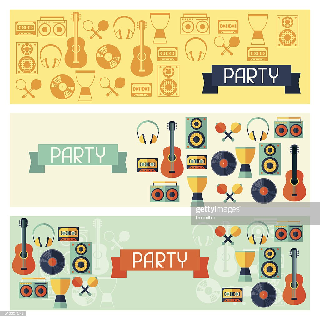 Horizontal banners with musical instruments in flat style.