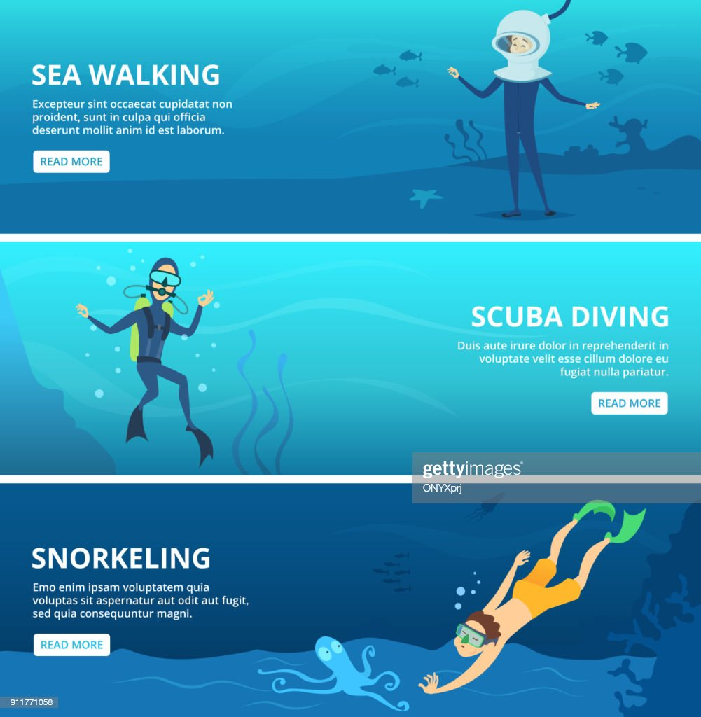Horizontal banners with sea scuba divers. Funny cartoon characters