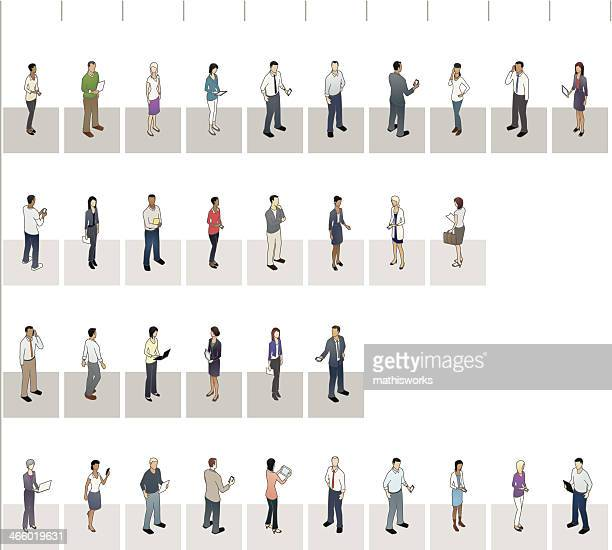 horizontal bar graph with people - mathisworks business stock illustrations