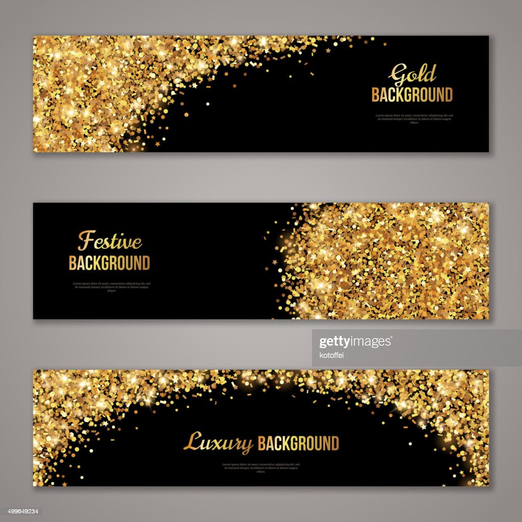 Horizontal Black and Gold Banners Set