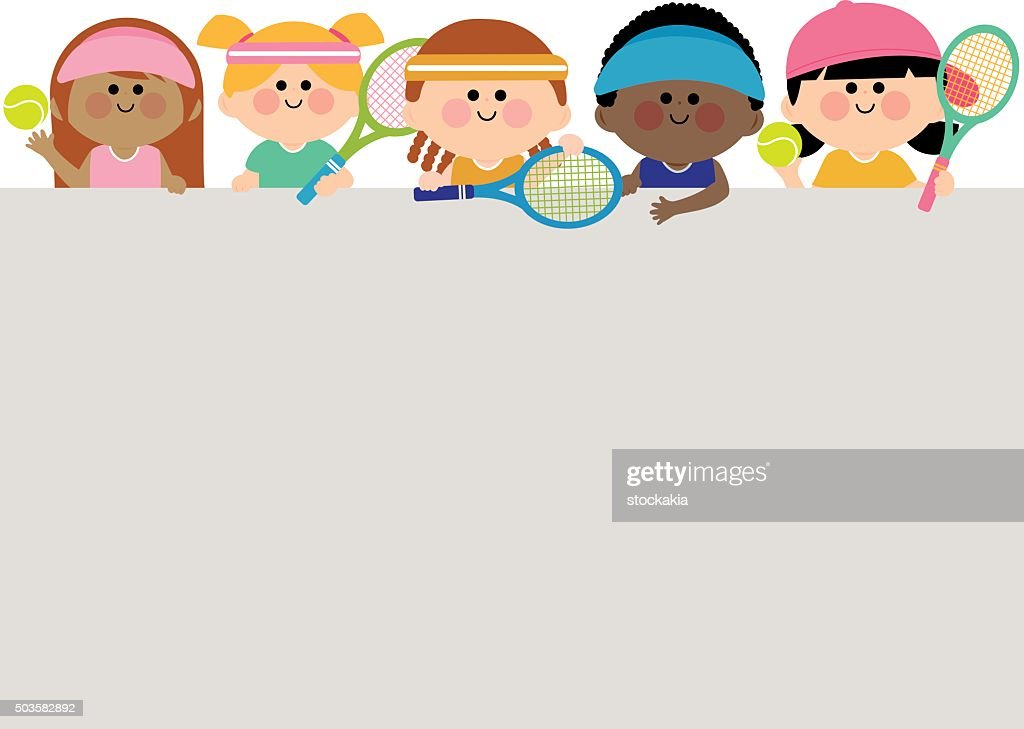 Horizontal blank banner and kids tennis players.