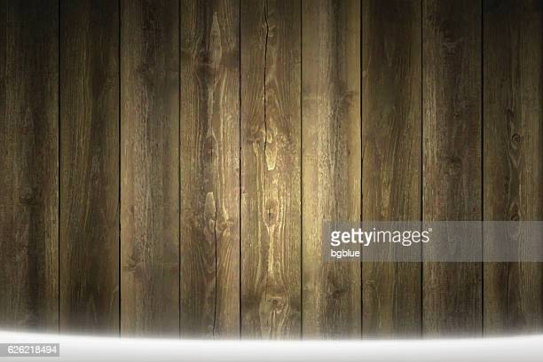 Horizontal blank Wooden background with snow on the ground.