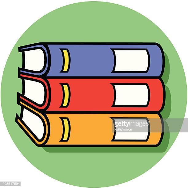 horizontal books icon - encyclopaedia stock illustrations, clip art, cartoons, & icons