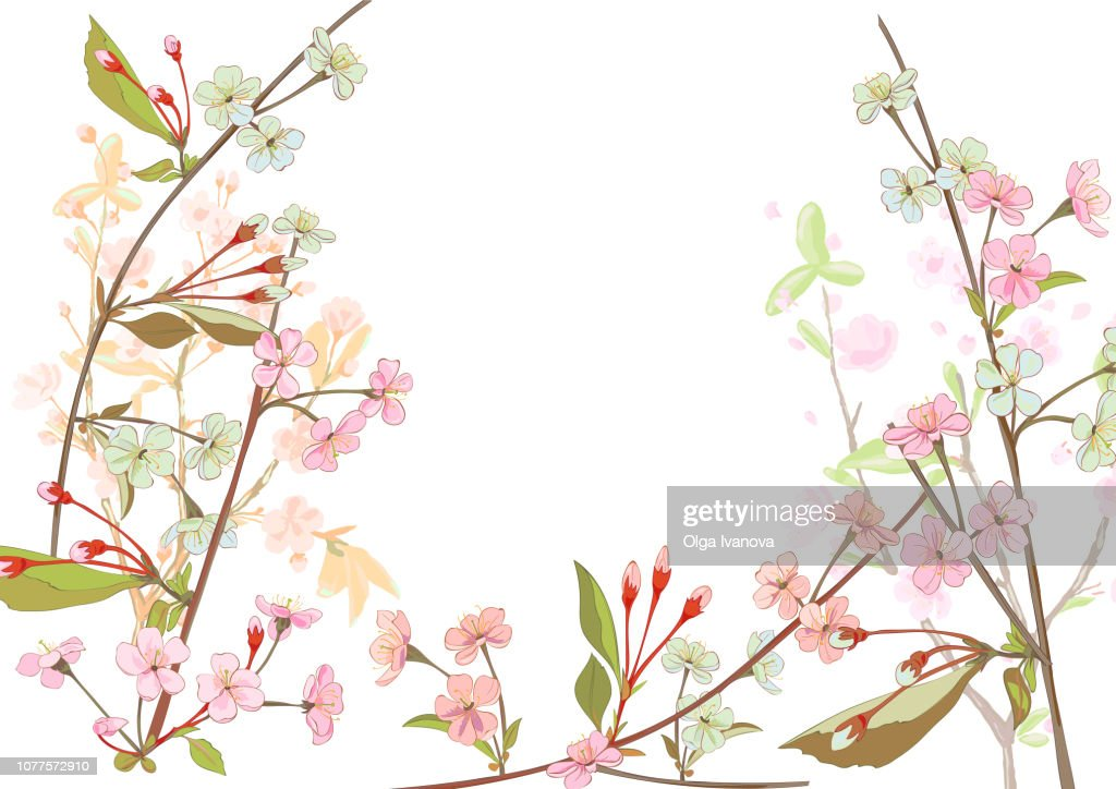 Horizontal border with spring blossom. Pink, bluish flowers: cherry, (sakura, almond, plum). Florets, branches, buds, green leaves on white background. Digital drawing in watercolor style, vector