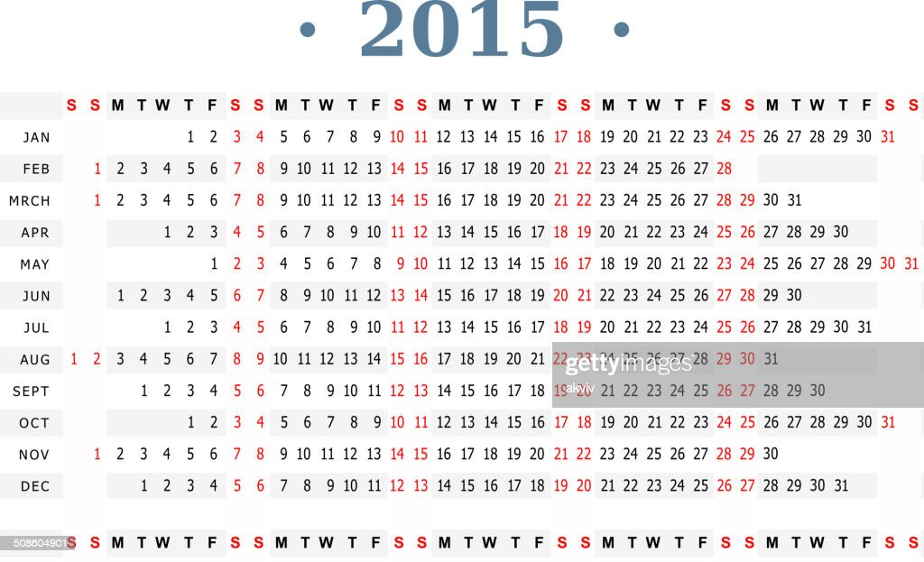 Horizontal calendar 2015 simple print : Vector Art
