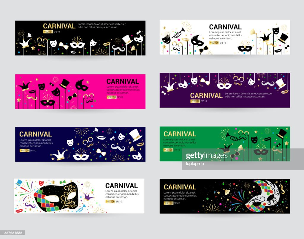 Horizontal carnival web banner masks celebration festive carnaval masquerade background festival flyer vector illustration