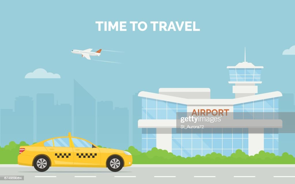 Horizontal cartoon banner with airport terminal taxi car and a plane taking off in the background a city skyline.