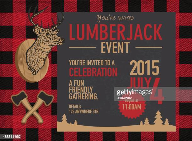 horizontal chalk lumberjack party invitation design template - masculinity stock illustrations