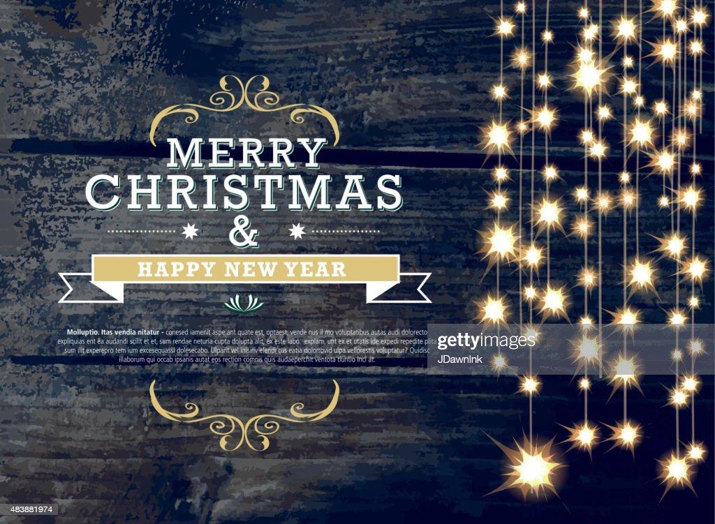 Horizontal Christmas and New Year invitation design woodgrain string lights : stock illustration