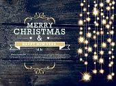 Horizontal Christmas and New Year invitation design woodgrain string lights