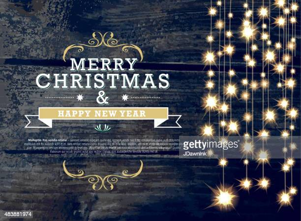 Horizontal Christmas and New Year invitation design woodgrain string lights
