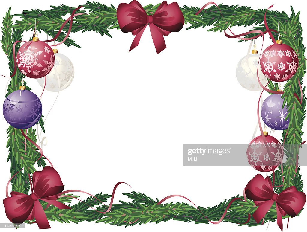 Horizontal Christmas Tree Frame Red Purple And White Baubles Vector ...