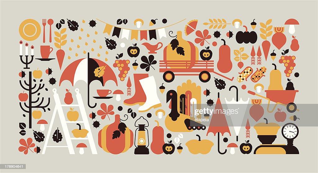Horizontal composition with Autumn symbols.