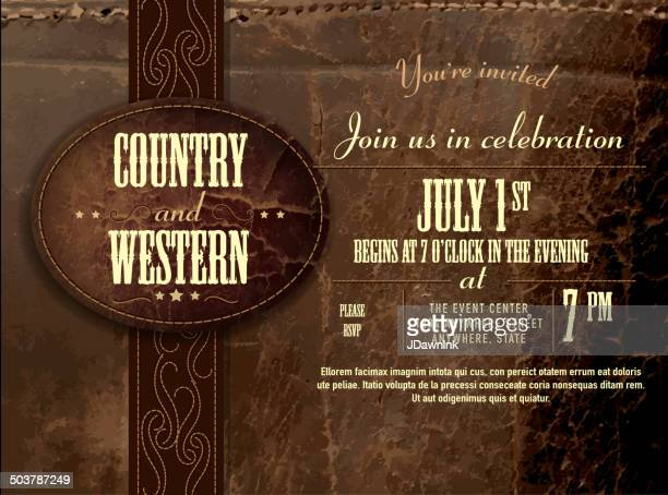 horizontal counry and western leather invitation design template - country and western stock illustrations