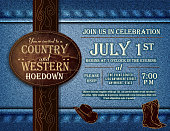 Horizontal Country and western Hoedown invitation design