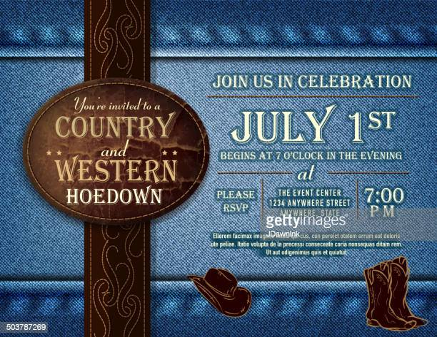 horizontal country and western hoedown invitation design - country and western stock illustrations
