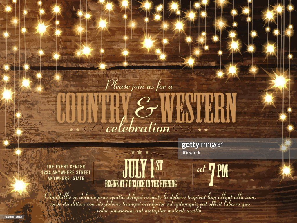 Horizontal Country and western invitation design template  string lights