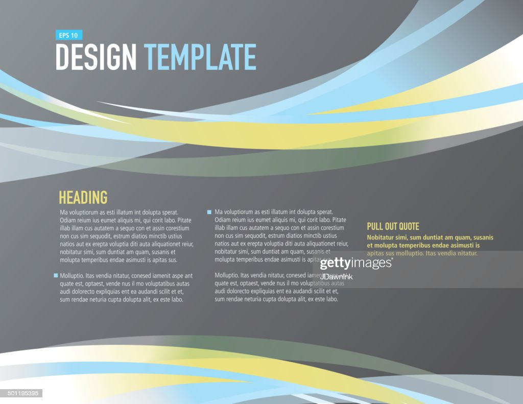 Horizontal Design Layout Template Gray Blue And Yellow ...