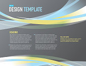 Horizontal Design layout template gray blue and yellow sample flyer